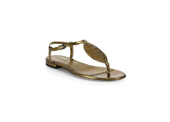 BOTTEGA VENETA Woven Metallic Leather Sandals $ 630