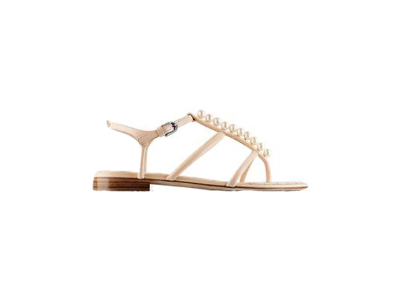CHANEL Glazed Kidskin Sandals Embellished With Pearls $ 1050