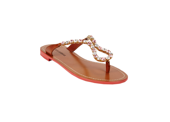 DOLCE & GABBANA Crystal-Embellished Thong Slides $ 475