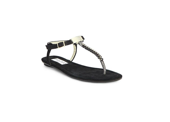 JIMMY CHOO Nox Jeweled Suede T-Strap Sandals $ 595