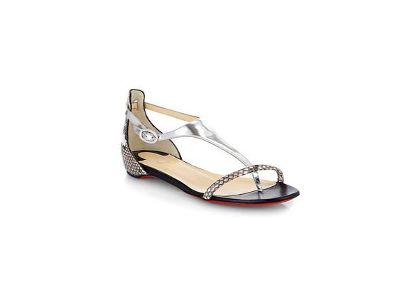 LOUBOUTIN Athena Python T-Strap Flat Sandals $ 795