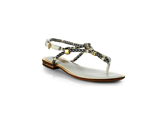 MICHAEL KORS Hartley Snakeskin & Leather Thongs Sandals $ 375