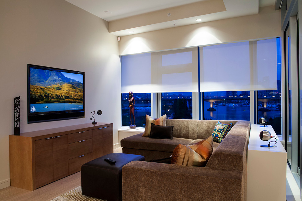 Marvelous Lutron Electronics Vogue Vancouver Contemporary Family Room Decoration Ideas With Accent Lighting Beige Ceiling Beige Wall Blinds Brown Sectional Brown Sofa City View Cityscape Downtown Magazine