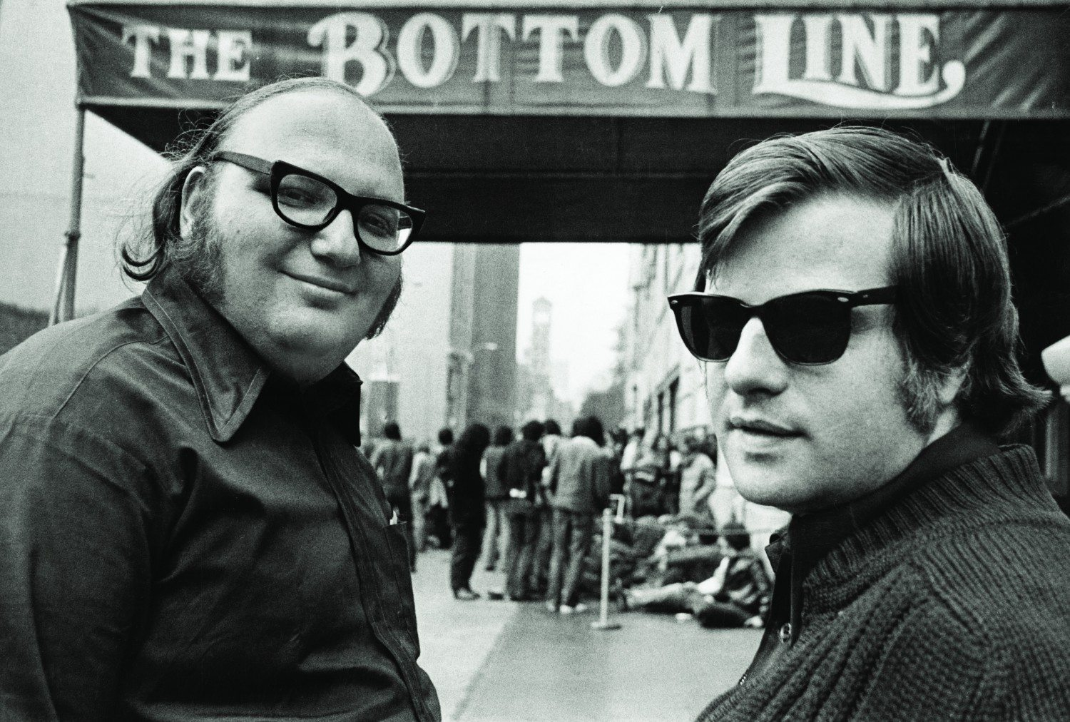 "L to R, partners Stanley Snadowsky and Allan Pepper in front of ""The Bottom Line"" in 1975.  CREDIT: Peter Cunningham"