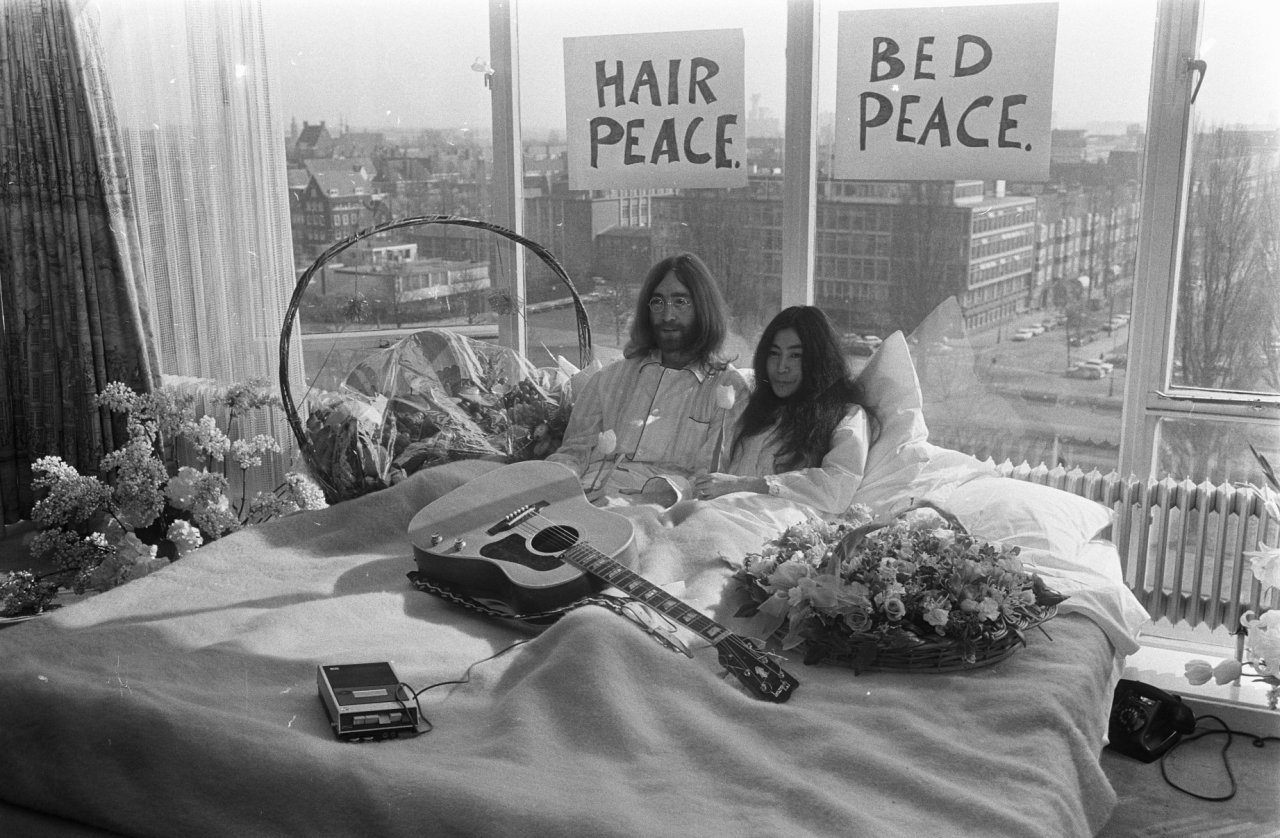 John Lennon and Yoko Ono at bed-in for peace, 1969