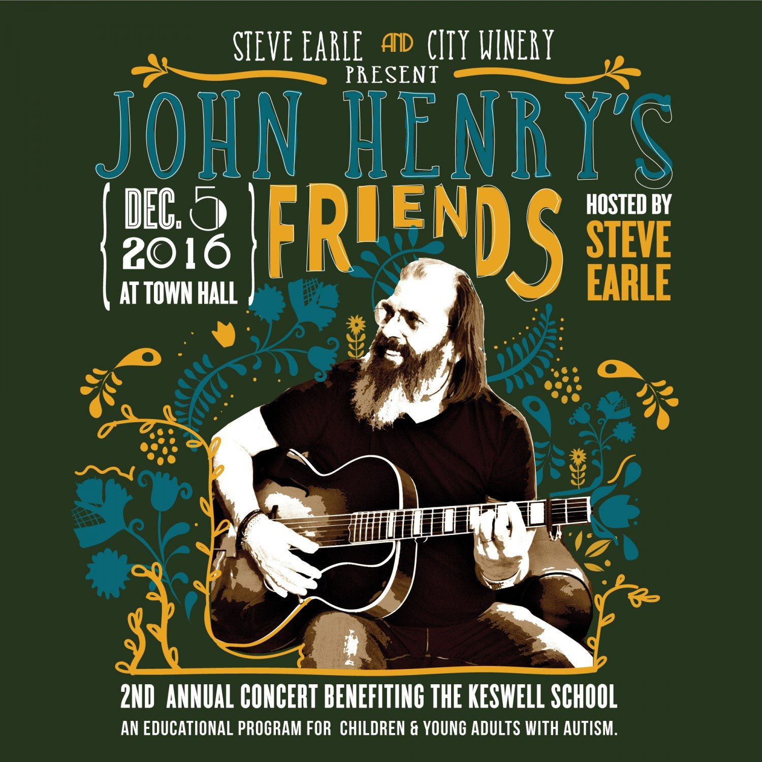 Steve Earle & The Dukes to headline benefit for The Keswell School on Dec. 5 at Town Hall