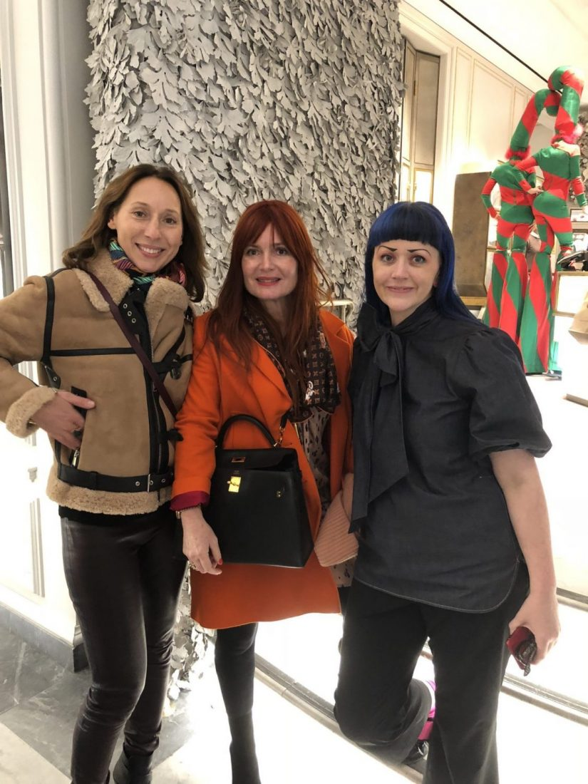Elisabeth Holder with Raberin and Celine Kaplan at the Bergdorf Goodman 2018 Holiday Window Display