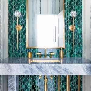 Malachite tiles from Artistic Tile.