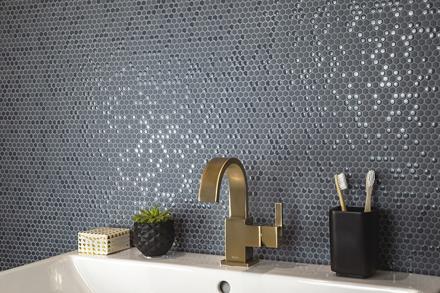 Nemo tile's hexagon pattern in pebble colorway; Fusion collection.