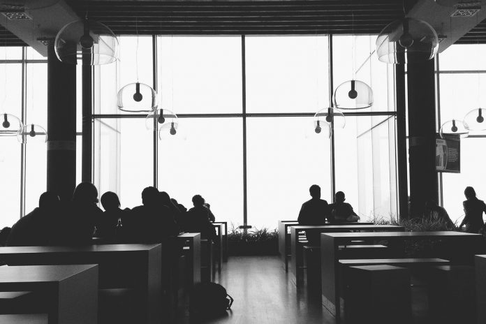 black and white cafeteria