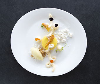 Passion Fruit, Coconut, and Pineapple dish from 1919 Restaurant in Puerto Rico.