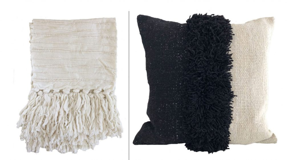 Nieve handwoven wool through and Puna handwoven pillow from Sien + Co. Textiles and more.