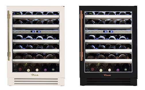 "True Residential's 24"" Dual Zone Undercounter Wine Cabinets. Shown in antique white and gold (left) and matte black and copper."