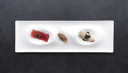 Crudo trio from 1919 Restaurant in Condado Vanderbilt Hotel in San Juan, Puerto Rico.