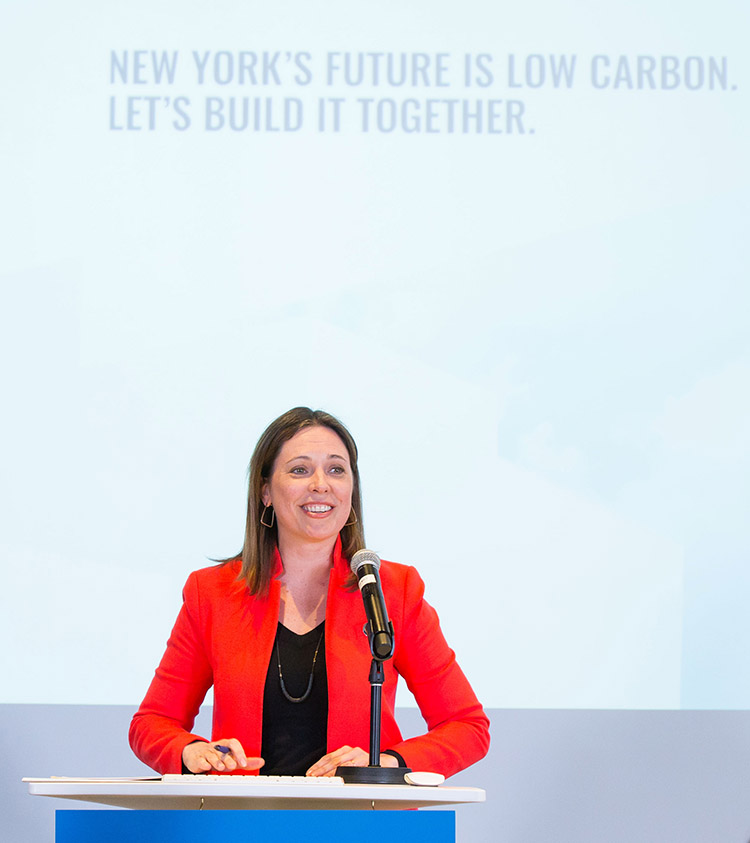 licia Barton, President and CEO, NYSERDA announces the launch of the Buildings of Excellence Competition at the Building Energy Exchange in Surrogate's Courthouse on March 6th (Philip Kamrass/New York Power Authority)