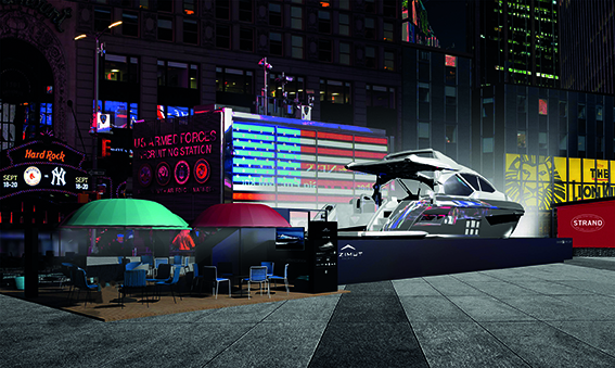 Azimut Yachts in Times Square during NYCxDesign Design Pavilion.