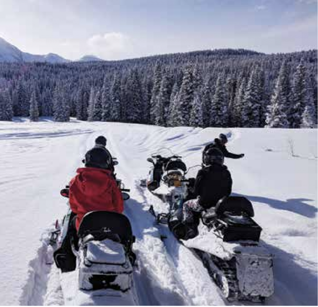 Snowmobiling through Beaver Park