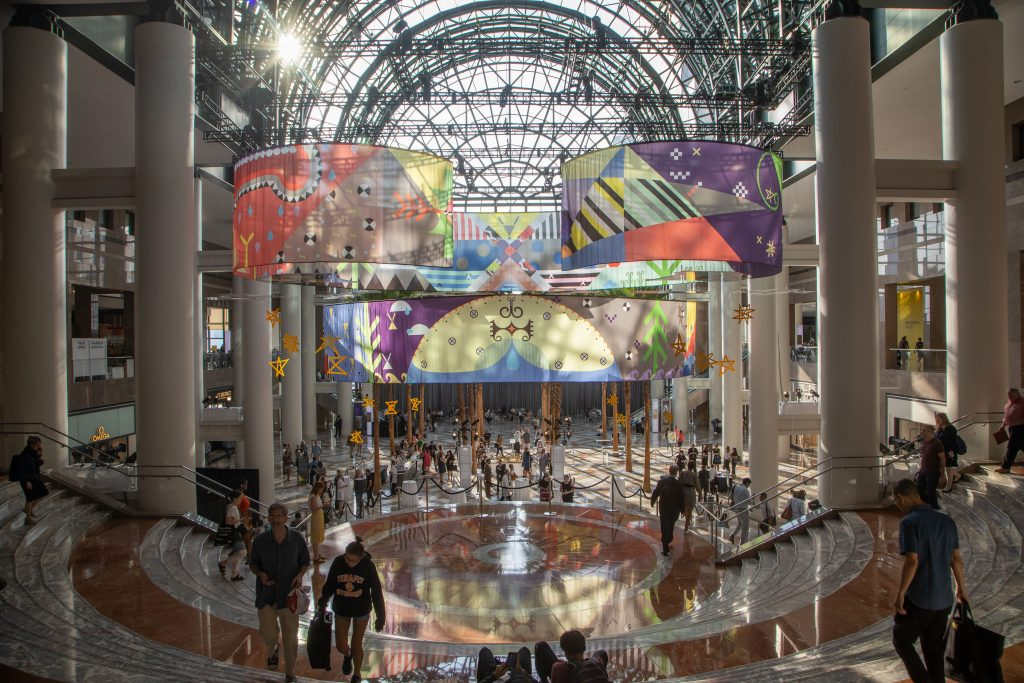 Tepkik towers over visitors in Brookfield Place. Photo courtesy of Shane Drummond Photo