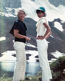 On page 75, Hitz details Connie Wald's, Audrey Hepburn's, and his own famed Apple Confit. Pictured: Connie and Audrey in Switzerland, 1969. Celebrity chef Alex Hitz.