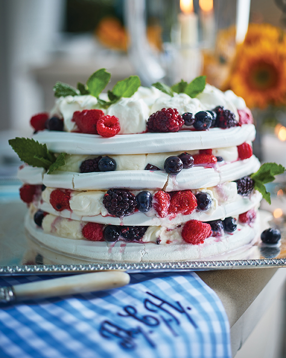 Summer Berry Pavlova with Bourbon Whipped Cream recipe by Alex Hitz.