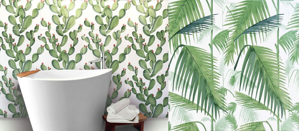Ceramica Francesco de Maio, Cersaie. Palm and cactus tiles.