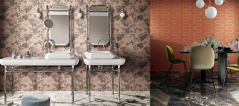Florim and Rubelli's new porcelain tile designs.